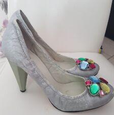 Designer Nine West leather Shoes with stones UK7 EU40 NEW