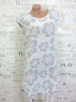 NEU ITALY Sommerkleid Hängerchen Tunika Kleid LEINEN-Optik 38 40 42 Weiß K139