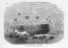 1870 LAUNCH OF H.M.S. TRIUMPH at JARROW on the River Tyne SHIP NAVAL (170b)