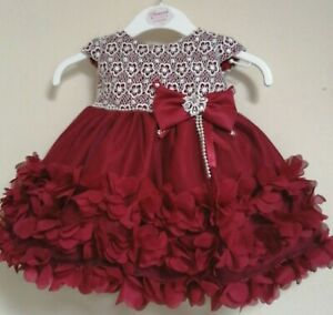 Burgundy Wine Ivory Flower Girl Bridesmaid Christmas Pageant Party Dress 0-24m