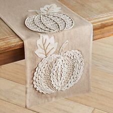 Pier 1 Imports Embroidered Natural Pumpkin Table Runner Harvest Fall New
