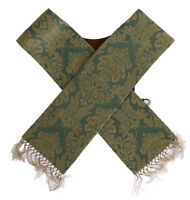 NEW $550 DOLCE & GABBANA Scarf Stole Men's Green Gold Jacquard Cotton Polyester