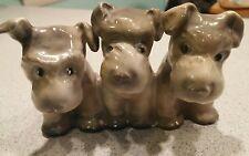 Erphila Germany pottery ceramic triplet three dogs terriers schnauzers grey