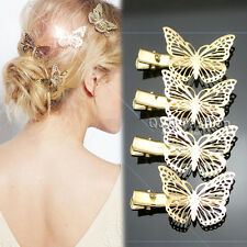 Pack of 4 Gold Filigree Butterfly French Updo Hair Pin Clip Dress Snap Barrette