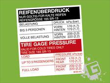OPEL KADETT C Reifenüberdruck Reifenüberdruck Aufkleber 165 SR-13
