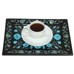 """9""""x6"""" Black Marble Tray Turquoise Floral Inlaid Semi Precious Indoor Gifts E93"""