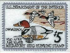 FEDERAL DUCK STAMP EMBROIDERED EMBLEM, RW-42 CANVAS BACK DECOY by: FISHER