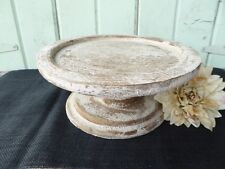 Farmhouse Pedestal Wood CAKE STAND PLATE Rustic Chippy Off White Wedding Decor