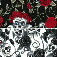 100% Cotton Poplin Fabric Rose & Hubble Skulls Roses Floral Red Rose Goth Skull