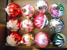 12 FROST PAINTED VINTAGE GLASS BAUBLES 4cm LOT PINK silver MIX XMAS TREE HANGER