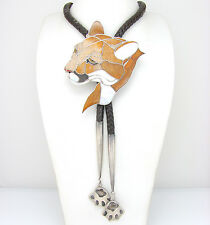 Impressive Sterling Silver Mosaic Mnt Lion Petrified Palmwood Inlay Bolo Tie   G