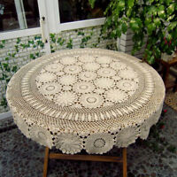 """Vintage Round Hand Crochet Tablecloth Cotton Lace Table Cloth Doily 86"""" Wedding"""