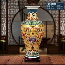 Enamel Floor Vases Chinese Traditional Floral Patterned Ceramic Home Decorations