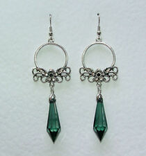 Silver Plated Green Costume Earrings