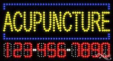 """New """"Acupuncture"""" 32x17 w/Your Phone # Solid/Flash Led Sign w/Customoptions25038"""