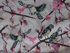 JOHN LEWIS blue tit bird print floral cotton poplin fabric 0.95 metres (95cm)
