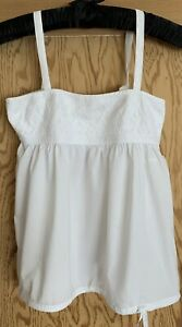 Ladies O'Neill A-Line Fit N Flare White Cotton Summer Cami Strap Top Size Small