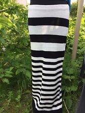 New Stretchy Striped White Black Knit High Waist Maxi Skirt Small Medium UK 🇬🇧