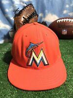 Rare Miami Florida Marlins Orange new era 5950 59fifty 7 5/8 Hat Cap Fitted H20