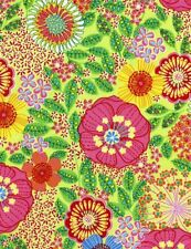 """47"""" Remnant Timeless Treasures Carly Floral Fabric Tribeca-3437-Lime"""
