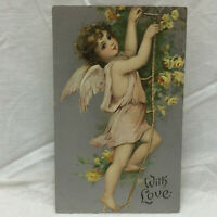 Vtg Embossed With Love Greeting Postcard Girl w/ floral Motif Germany Cherub
