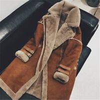 WOmen's Suede Leather Winter Warm Fleece Lining Motorcycle Jacket Coat Outwear