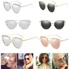 SALE Silver Black Gold Rose Pink Cat Eye Mirror Sunglasses Metal Frame Aviators