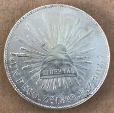 1898 Zs FZ Un Peso High Grade Mexico Silver,Very Nice Coin