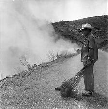 ESPAGNE c.1957 - Homme Feu de Broussailles Portbou - Négatif 6 x 6 - Esp 65