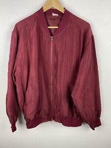 Vintage 80s Mens Harrington Bomber Jacket Size 48 / L Full Length Zip Polyester