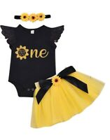 Girls 1st Birthday Sunflower Tutu Outfit Skirt Set Headband 12-18 months