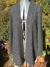 Charter Club 100% Cashmere Gray Sequin Embossed Long Cardigan Sweater sz M