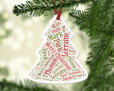 Personalised Family Xmas Names White Christmas Tree Ornament Decoration Gift