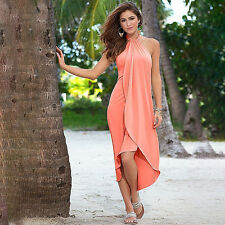 Women Boho Long Dress Halter Neck Irregular Summer Beach Party Evening Maxi Dres