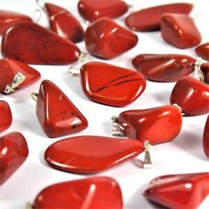roter Jaspis Anhänger Trommelstein rot 30 mm silberne Öse Tropfen Top - Qualität