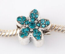 1P silver Blue Hole flowers sided CZ spacer beads Charm European Bracelet #B987