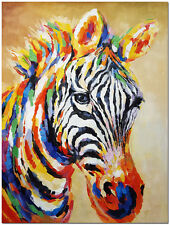"Signed Hand Painted Zebra Oil Painting 16x20"" - Modern Impressionist Animal Art"
