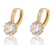 Damen Luxus Ohrringe Hänger Creolen Zirkonia weiß 750er Gold 18 Karat vergoldet