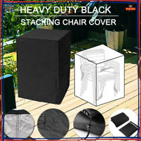 Waterproof Furniture Cover Garden Patio Rain UV Stacking Chair Protector Black