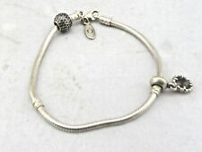 "Pandora 925 Sterling Silver 8 1/4"" Charm Bracelet With 2 Charms 19 g"