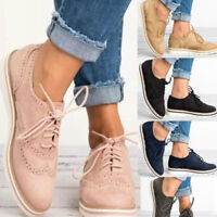 US Womens Sneakers Casual Breathable Tennis Trainers Lace Up Brogues Shoes Size