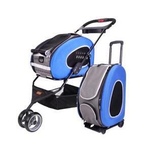 Foldable Pet Carrier Pram & Backpack Ibiyaya EVA 5-in-1 Cart Combo Royal Blue
