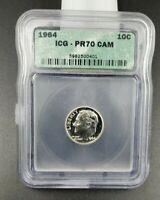 1964 P Roosevelt Silver Dime Coin PR70 Cam Cameo ICG Gem Proof Nice Coin