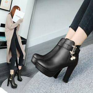 Fashion Ladies High Heels Platform Ankle Boots Beads Autumn Party Casal Shoes UK