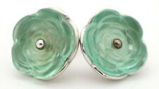 Vintage Iced Mint Green Crystal Glass Lalique Rose Earrings