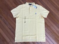 NWT US Polo Assn. Men's Yellow Polo Shirt Blue Pony Size L  MSRP $42