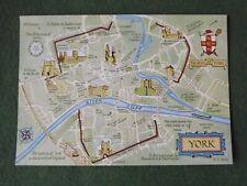 York Map Salmon Watercolour Postcard unposted