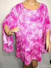 Cocomo Woman Plus Size 2x Pink White Tie Dye Floral Tunic Top Blouse Shirt