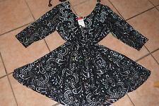 MAGNA Tunika Kleid Pailletten Spitzen-Optik 40 42 NEU! schwarz silber  A-Form