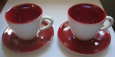Starbucks Espresso Set of Two 2005 Demitasse 3 oz Red Pearlescent Cup & Saucer